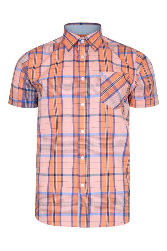 Men's  KAM Casual Check Shirt Peach