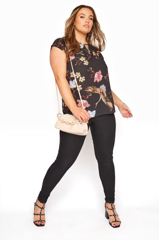Black Floral Print Cut Out Blouse