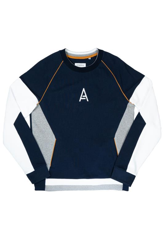 Plus Size  STUDIO A Navy & White Colour Block Sweatshirt