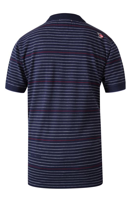 D555 Navy Fine Stripe Tipped Pocket Polo Shirt