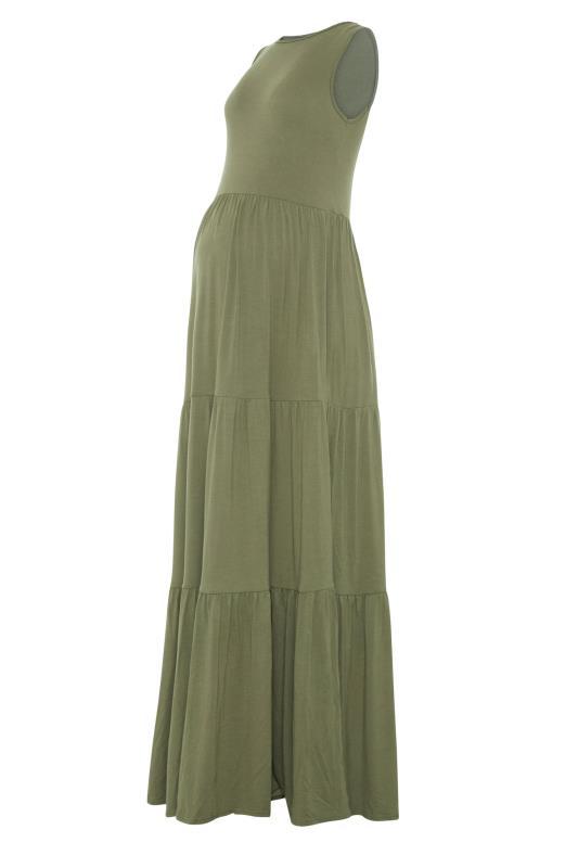 LTS Maternity Khaki Tiered Maxi Dress_F.jpg