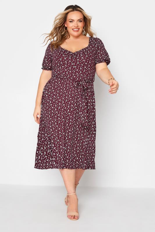 dla puszystych YOURS LONDON Purple Ditsy Sweetheart Dress