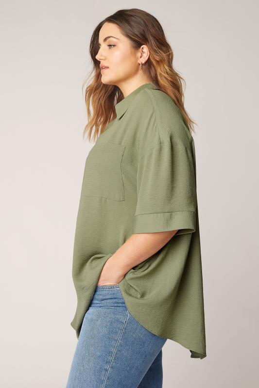 THE LIMITED EDIT Olive Green Pleated Front Top_A.jpg