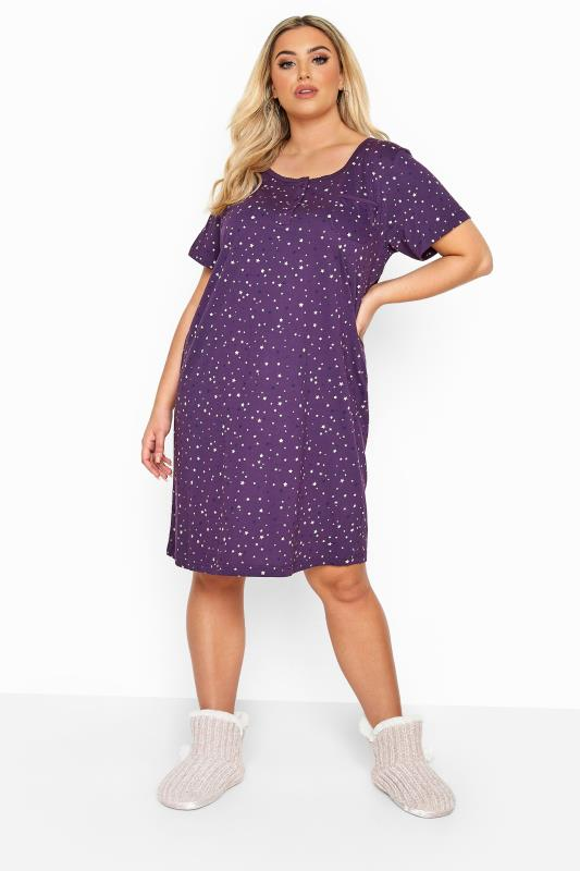Plus Size Nightdresses & Chemises Purple Star Pocket Placket Nightdress