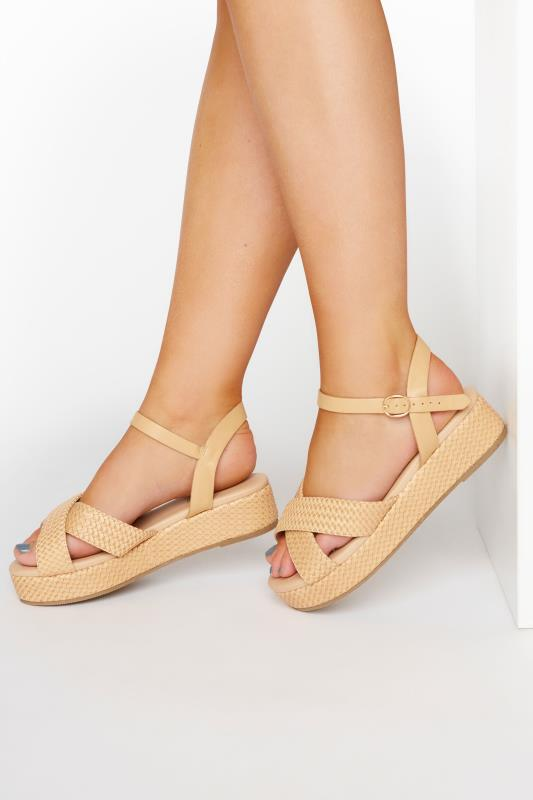 Tall  Yours LIMITED COLLECTION Tan Weave Platform Sandal In Extra Wide Fit