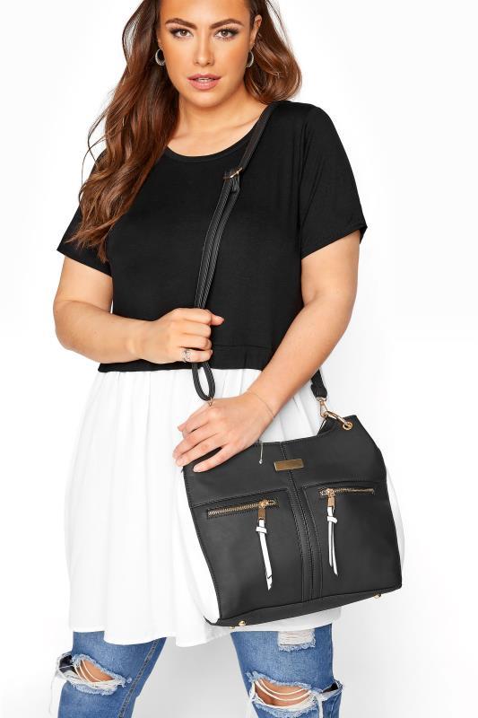 Tallas Grandes Black Contrast Shoulder Bag