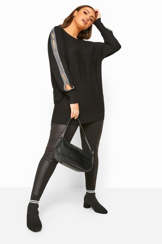 Black Metallic Tape Knitted Jumper