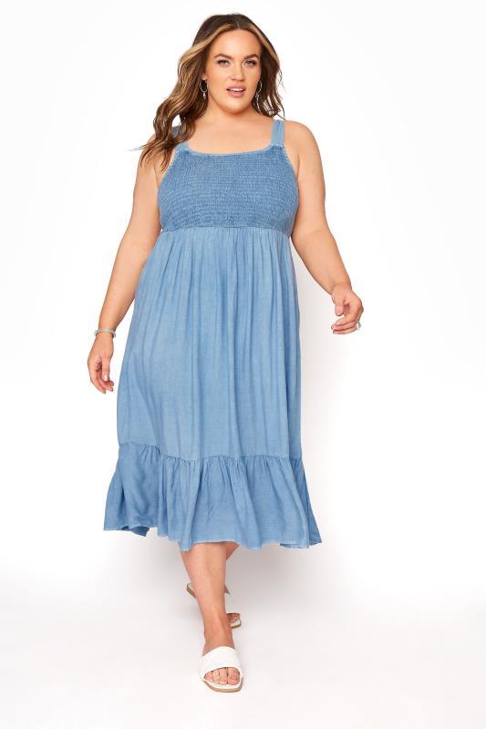 Plus Size  Blue Acid Wash Sleeveless Shirred Dress