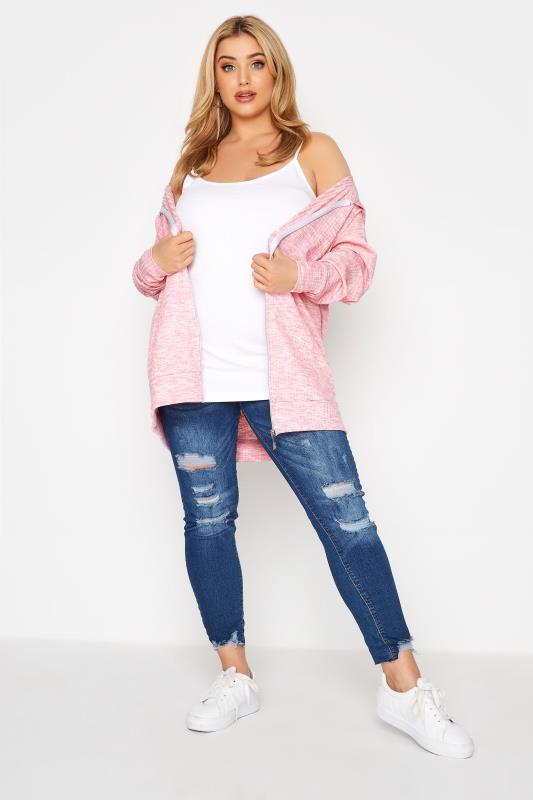 Pink Marl Ribbed Zip Through Hoodie_B.jpg