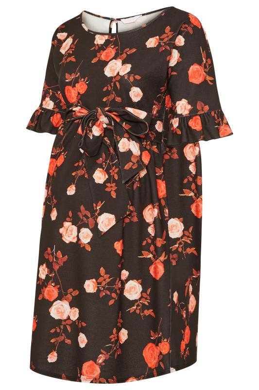 BUMP IT UP MATERNITY Black & Orange Floral Ruffle Sleeve Dress