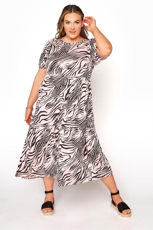 Plus Size  Pink Zebra Puff Sleeve Midaxi Dress