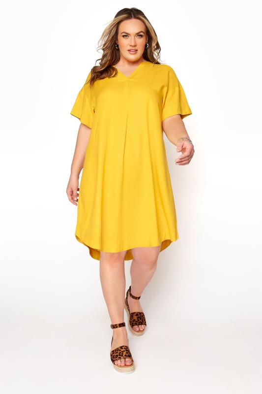 Plus Size  LIMITED COLLECTION Yellow Notch Neck Summer Throw On Dress