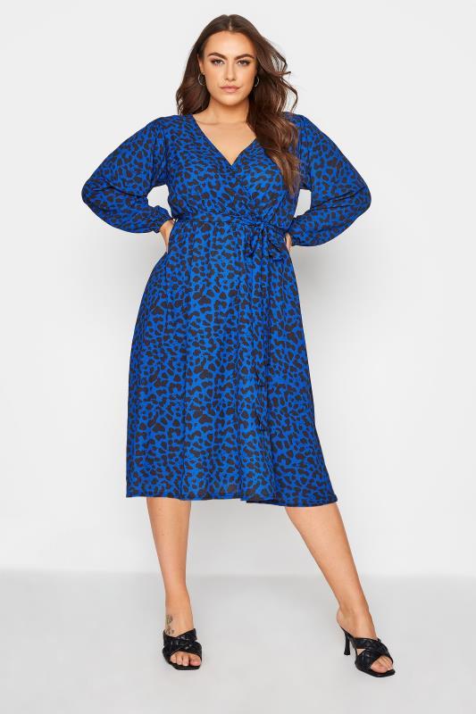 YOURS LONDON Cobalt Blue Animal Print Wrap Midi Dress_A.jpg