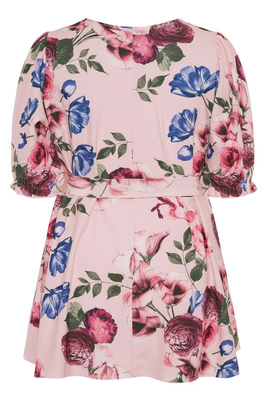YOURS LONDON Pink Floral Puff Sleeve Wrap Top_BK.jpg