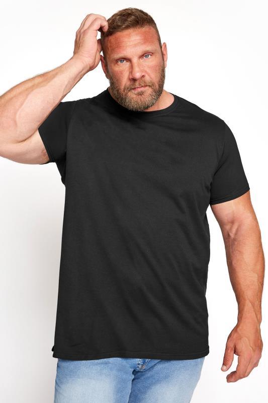 BADRHINO Black Basic Plain T-Shirt
