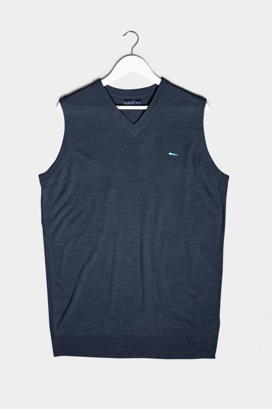 Men's  BadRhino Navy Essential Sleeveless Knitted Jumper