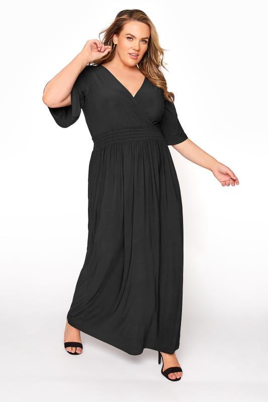YOURS LONDON Black Wrap Midaxi Dress_A.jpg