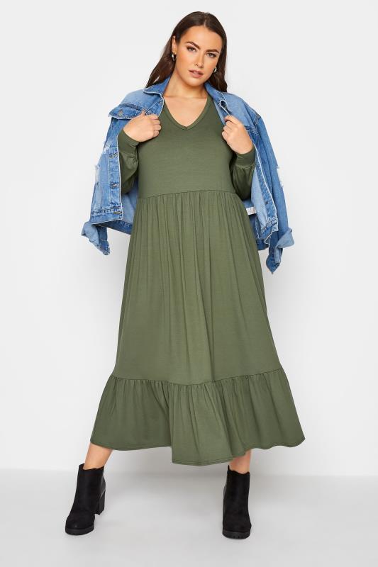LIMITED COLLECTION Khaki Smock Midi Dress_B.jpg