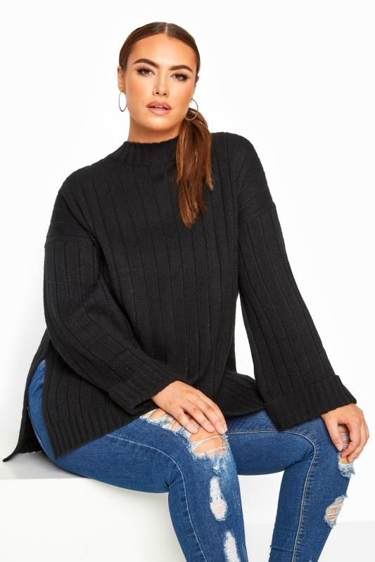Plus Size Jumpers Black Ribbed Wide Sleeve Knitted Jumper