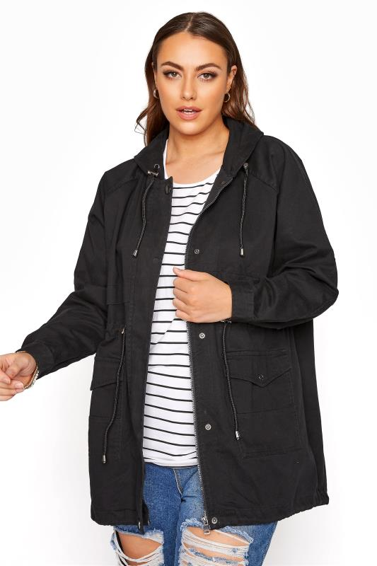 Grande Taille Black Washed Cotton Parka