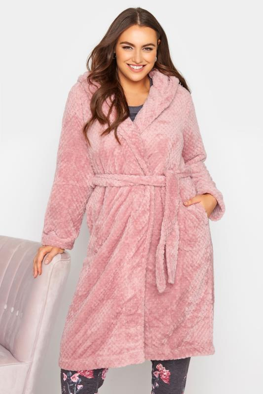 Plus Size  Pink Waffle Hooded Dressing Gown