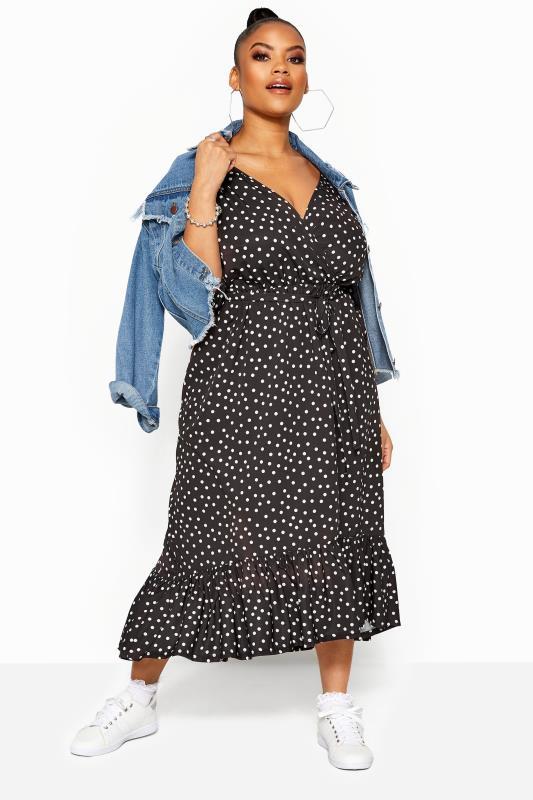 LIMITED COLLECTION Black Polka Dot Frill Smock Midi Dress