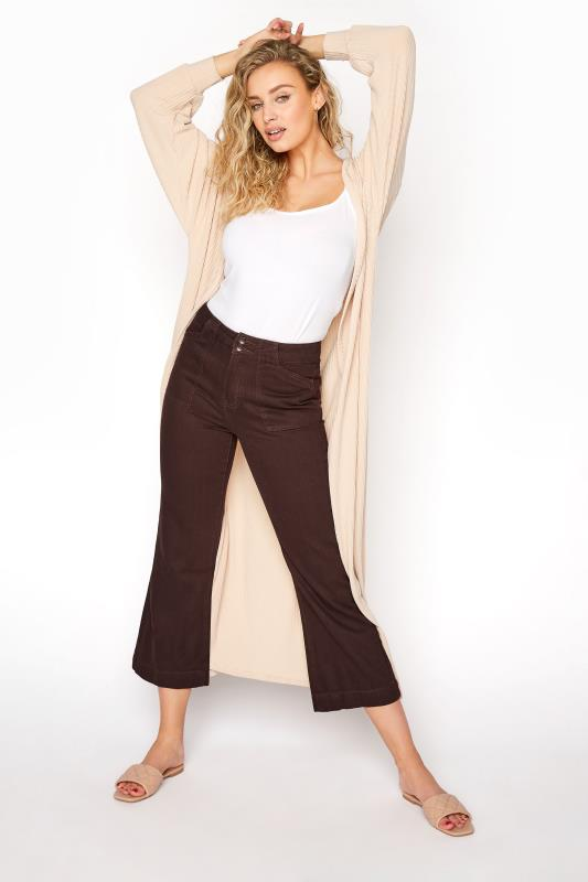 Brown Cotton Twill Kick Flare Cropped Trouser