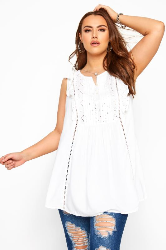 Plus-Größen Day Tops White Broderie Anglaise Frill Top