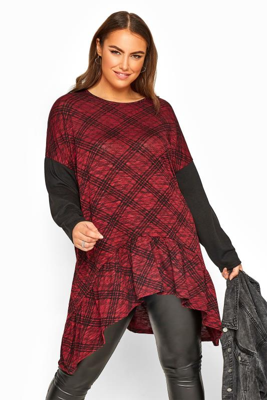 Plus Size Jersey Tops Red Check Frill Hanky Hem Top