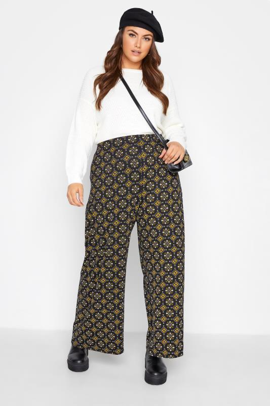 Plus Size  Black Tile Print Wide Leg Trousers
