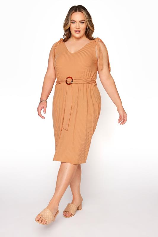 YOURS LONDON Natural Rib Belted Bow Shoulder Dress_A.jpg