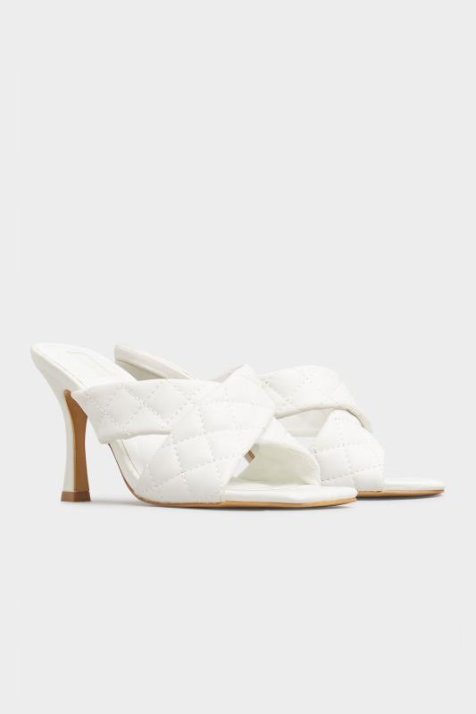 LIMITED COLLECTION White Cross Quilted Stiletto Mules In Extra Wide Fit_B.jpg