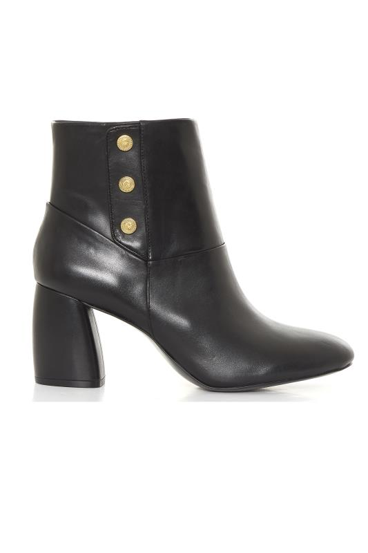 NINE WEST Black Kirtley Leather Heeled Ankle Boots