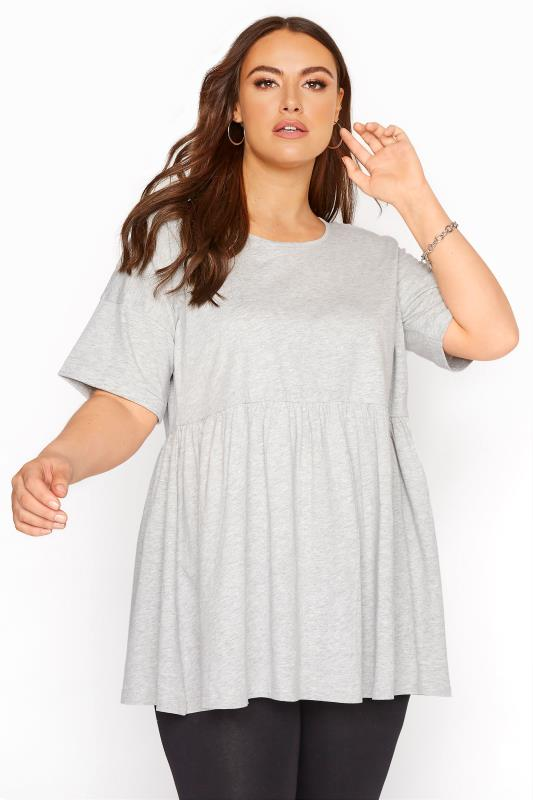 Grey Marl Drop Shoulder Peplum Tunic