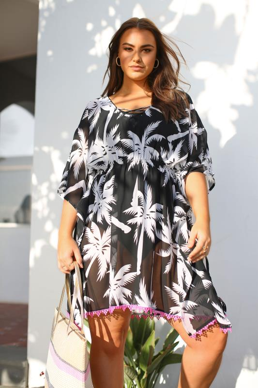 Black & White Tropical Palm Print Cover Up