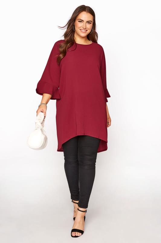 YOURS LONDON Wine Red Flute Sleeve Tunic_B.jpg