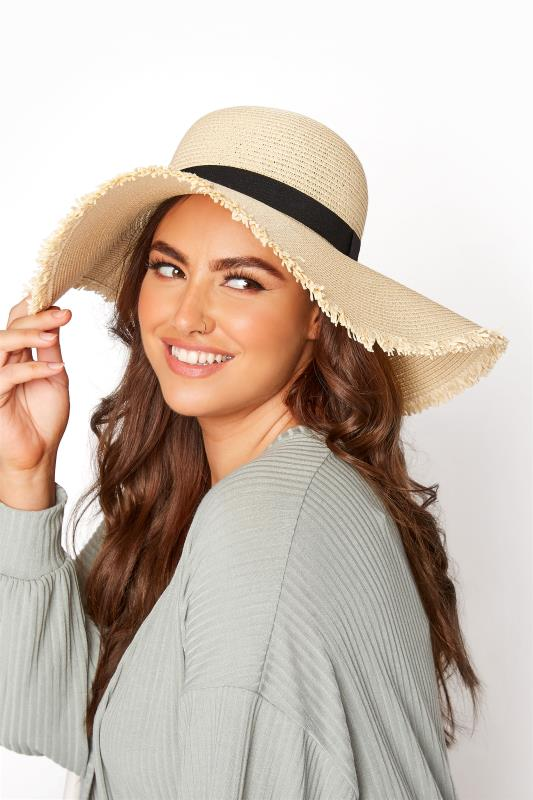 Tall  Yours Natural Frayed Edge Straw Hat