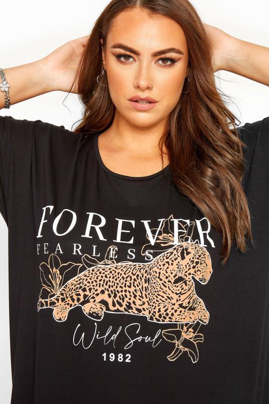 Black Leopard Print 'Forever' Slogan Top