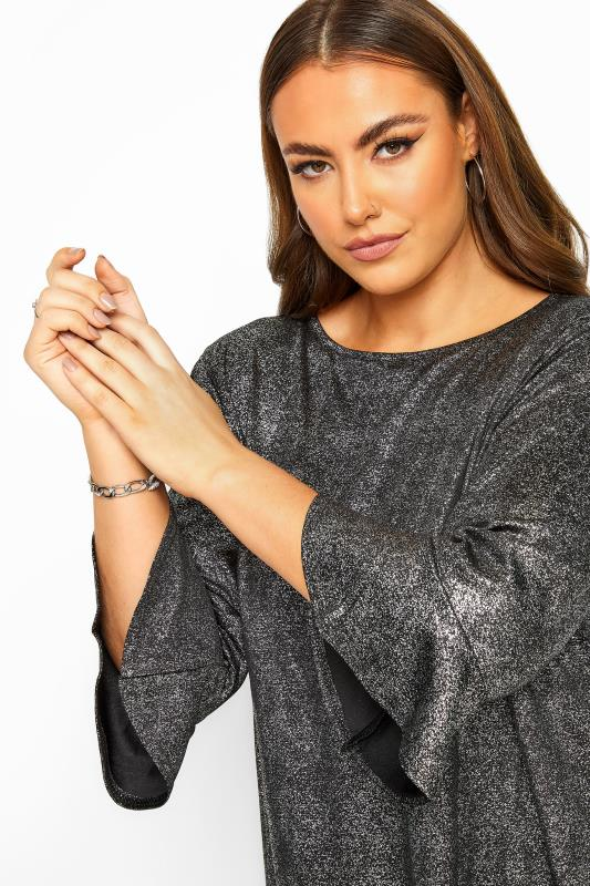 YOURS LONDON Black & Silver Foil Flute Sleeve Tunic