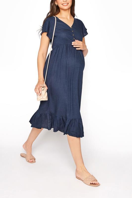 LTS Maternity Navy Linen-blend Dress_B.jpg