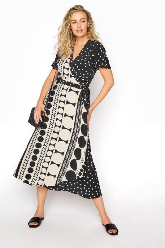 Black Spot Print Midi Wrap Dress_B.jpg