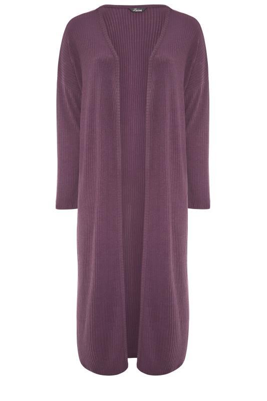 LIMITED COLLECTION Plum Purple Ribbed Longline Cardigan_F.jpg