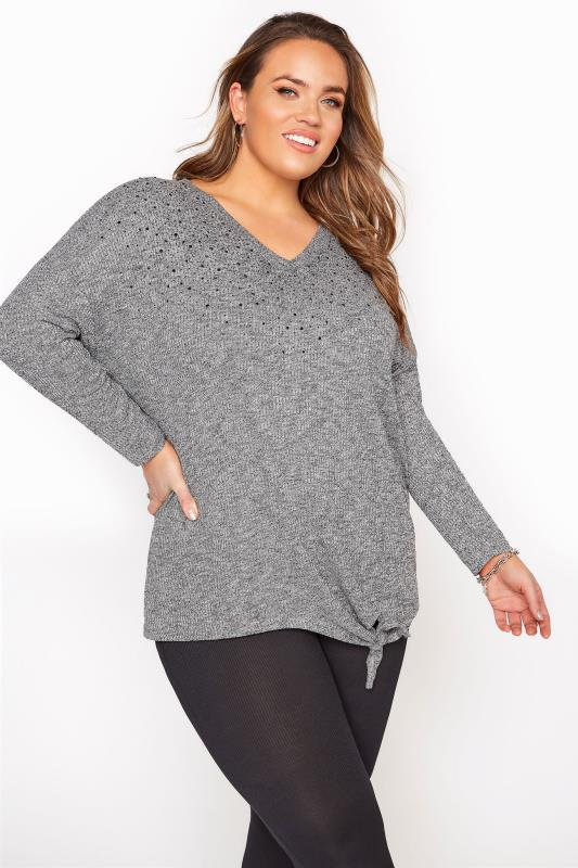 Plus Size  Grey Beaded V-Neck Tie Front Top