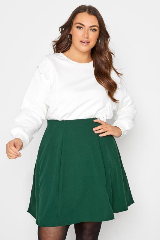 Plus Size  LIMITED COLLECTION Forest Green Scuba Skater Skirt