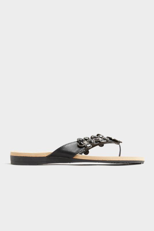 Black Flower Gem Sandals in Regular Fit_A.jpg