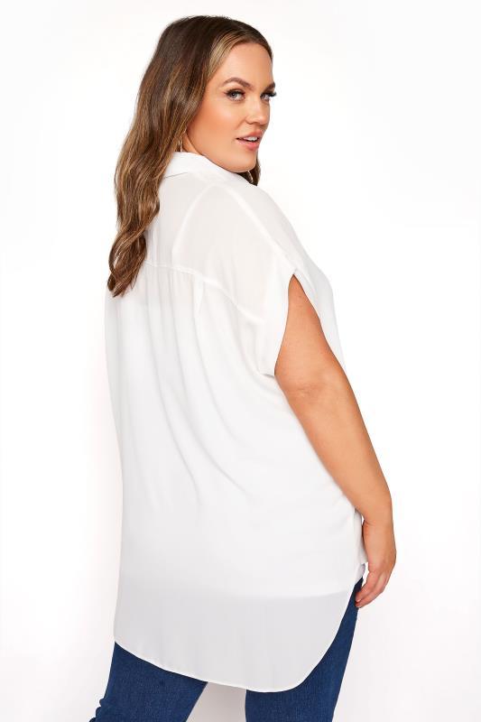 White Short Grown On Sleeve Dipped Hem Shirt_C.jpg