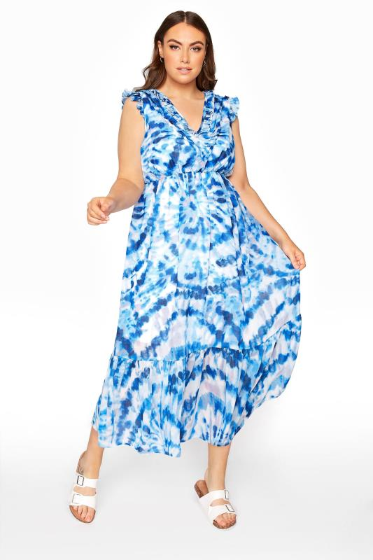 Blue Tie Dye Midaxi Dress