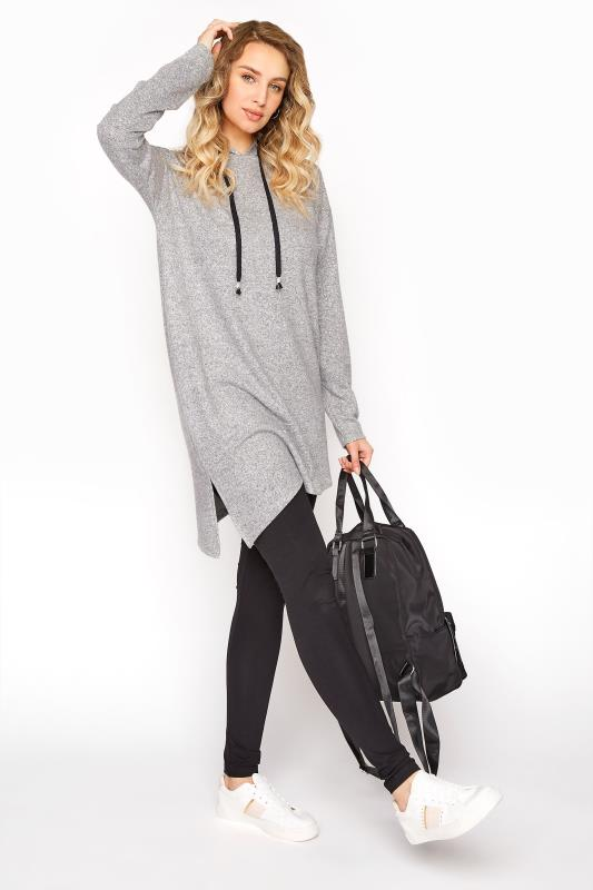 Tall  LTS Grey Longline Soft Touch Hoodie