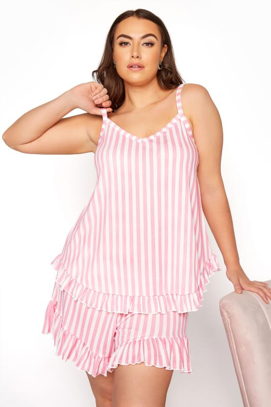 LIMITED COLLECTION Pink Stripe Frill Pyjama Top_A.jpg
