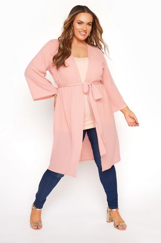 Plus Size  YOURS LONDON Pink Kimono